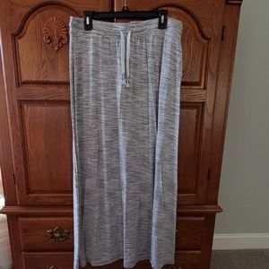 Gray/white Drawstring Maxi Skirt with Pockets